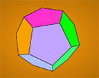 Tetrahedron, cube, octahedron, dodecahedron and icosahedron in 3D